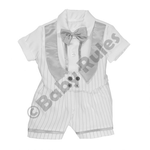 Christening Boys White pinstripe suit with pinstripe and silver waist coat and silver bowtie doop