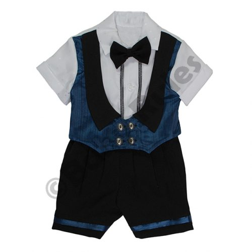 Christening Boys Black and blue waist coat with white shirt and black bowtie doop