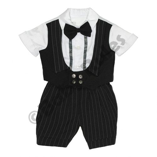 Christening Boys Black pinstripe and waist coat with white cotton shirt and bowtie doop