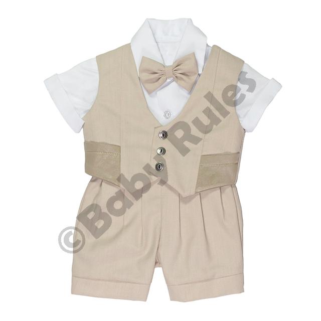 Christening Boys Khaki suit, waistcoat with pockets, white shirt and khaki bowtie doop