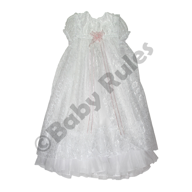 Christening Girls Long dress with satin and chiffon overlay and pink bow