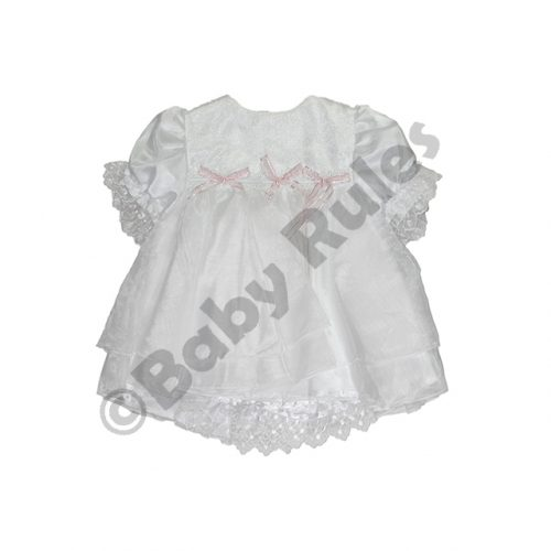 Christening Girls White Pantaloon Set with Pink Bows doop