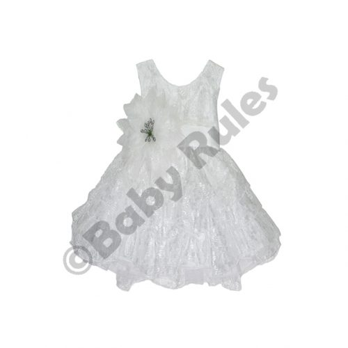 Christening Girls White Satin Layered Lace Dress With White And Silver Flower doop
