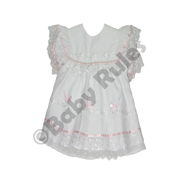 Christening Girls White with Pink bows and Pearl detail with matching pantaloons doop