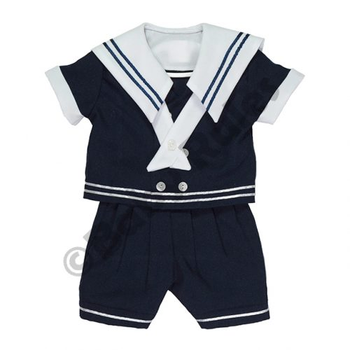 Christening Boys Sailor suit with navy pants, navy shirt and white trim doop