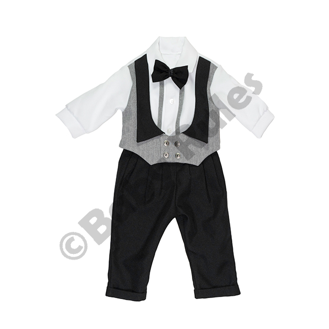 Christening Boys Black and textured grey waist coat with long-sleeved white shirt and grey bowtie Doop