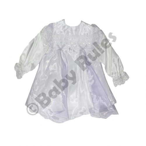 Christening Girls dress with pantaloons - white with lilac overlay and bows doop