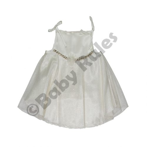 Christening Girls Cream Dress With Gold Overlay and Glitter Trim doop