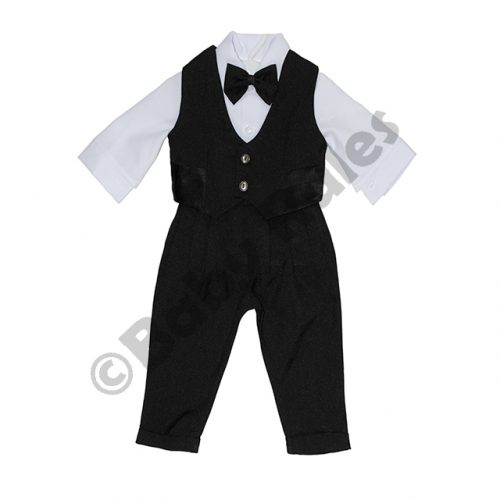 Christening Boys Long black pants , long-sleeved white shirt , black waistcoat and black bowtie Doop