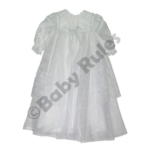 Christening Girls Long winter dress with satin, chiffon and lace overlays doop