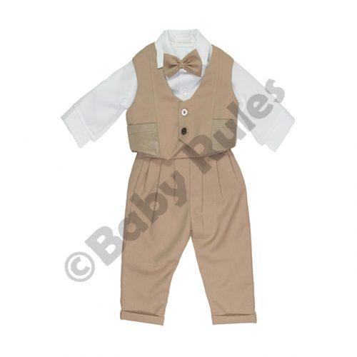 Christening Boys Khaki suit, waistcoat with pockets, long-sleeved white shirt and khaki bowtie doop