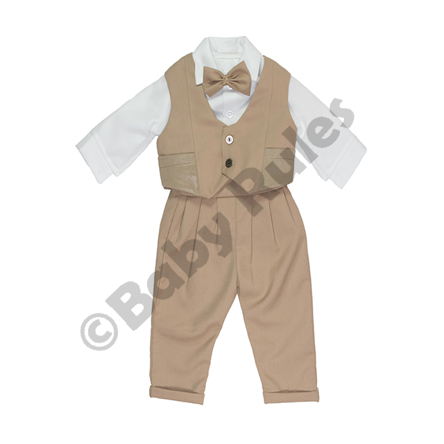 Christening Boys Khaki suit, waistcoat with pockets, long-sleeved white shirt and khaki bowtie doop