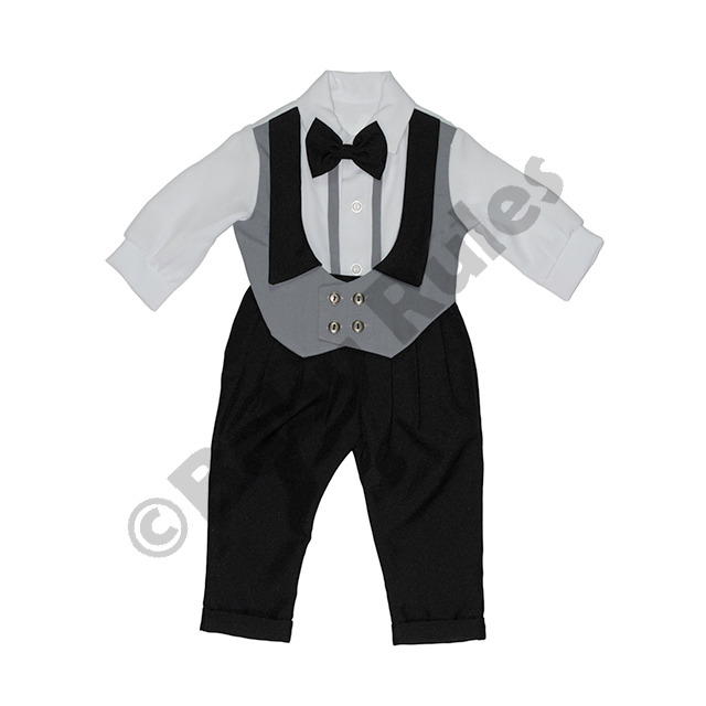 Christening Boys Black and grey waist coat with long-sleeved white shirt and grey bowtie doop