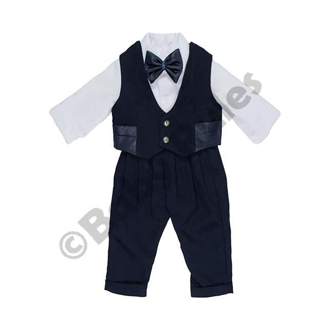 Christening Boys Navy long pants, long-sleeved white shirt, leather-look waistcoat with navy bowtie doop