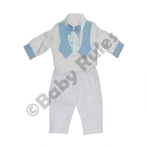 Christening Boys White satin waistcoat with blue lapels, blue bowtie and white cotton pants doop