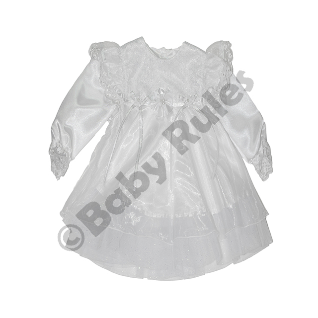 Christening Girls With pantaloons white bows, flowers and silver trim doop